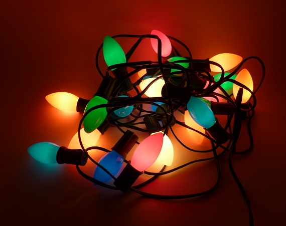 tangled Christmas lights for holiday decorating