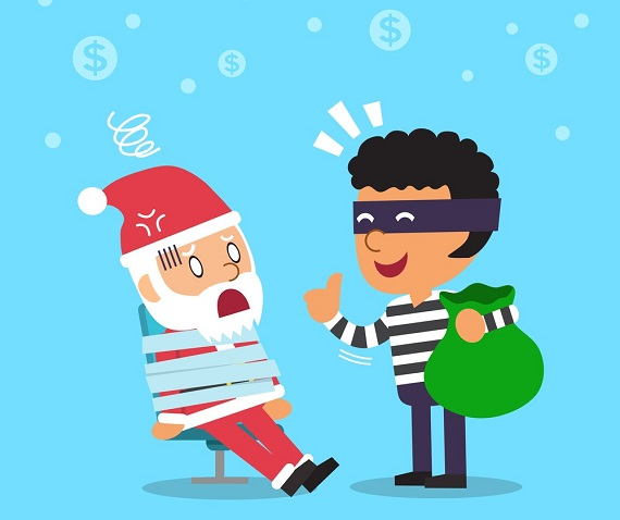 illustration of thief robbing santa