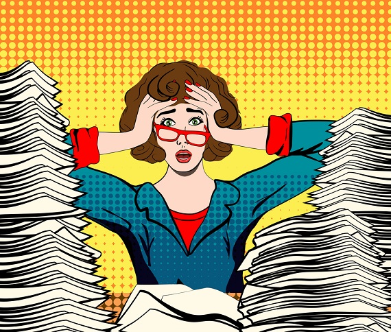 illustration of woman burried in paperwork