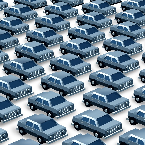 illustration of cars in a car lot