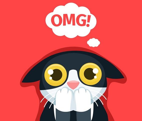 illustration of frightened cat thinking omg