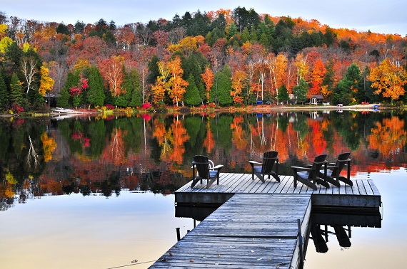 brilliant fall foliage from a dock in a lake