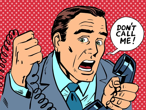 "cartoon image of man yelling ""don't cal me"""