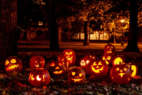 Halloween scene with pumpkins