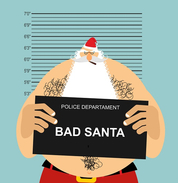 caroon orf a fake Santa in a police lineup