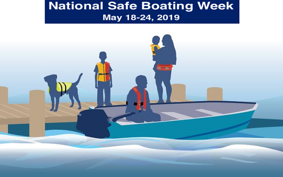illustration of people wering life jackets for Safe Boating Week