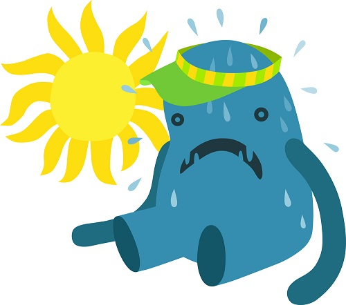 cartoon of melting monster in a heat wave