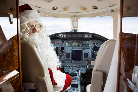 Santa as pilot of the plane