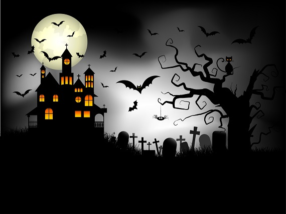 a dark iillustratin of a haunted ymansion, a full moon and fluing bats for Halloween