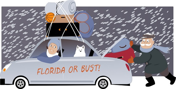 illustration of older couple paccking a car in the snow to head for Florida