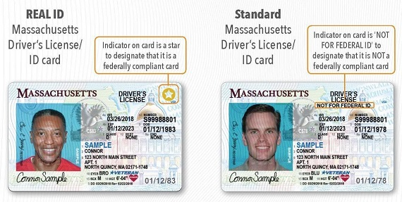 Massachusetts REAl-ID compliant license sample