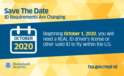 REAL ID 10/1/2020 deadline graphic