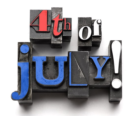 Fourth of July in red white and blue type fonts